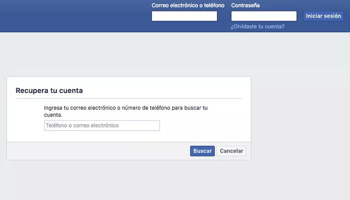 olvide mi contraseña facebook