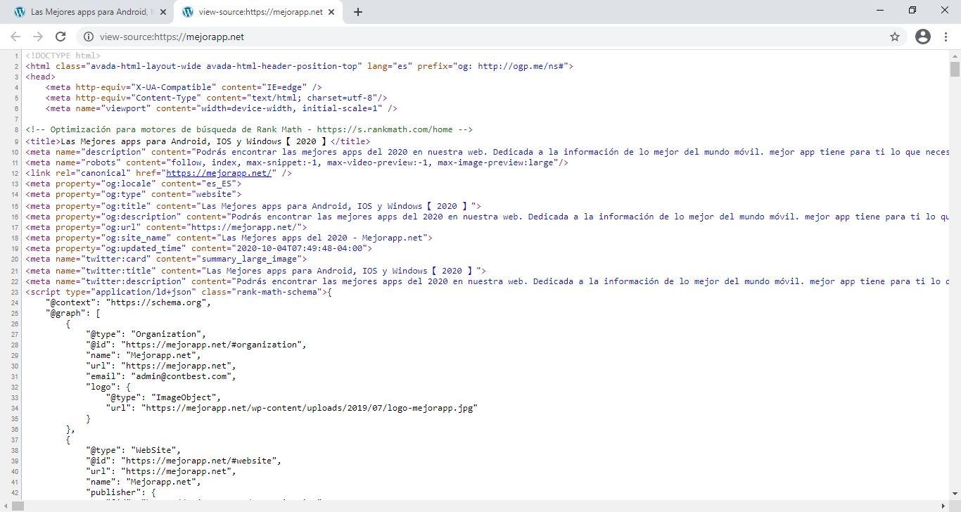 Se abrirá una nueva pestaña en el navegador donde podrás ver el código fuente de la página.