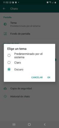 como activar el modo oscuro whatsapp en android elegir oscuro en whatsapp