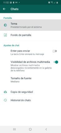 como activar el modo oscuro whatsapp en android ir a tema en whatsapp