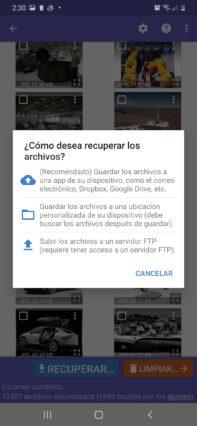 cómo recuperar fotos borradas en Android Diskdigger almacenar foto recuperada