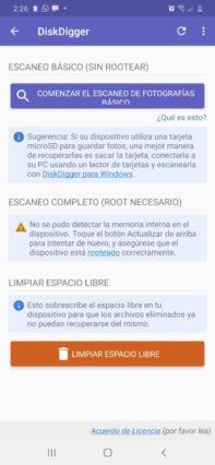 cómo recuperar fotos borradas en Android Diskdigger comenzar escaneo