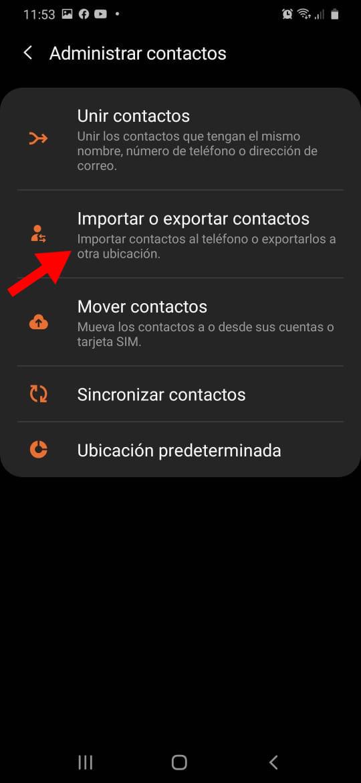 ve hacia donde dice importar o exportar contactos
