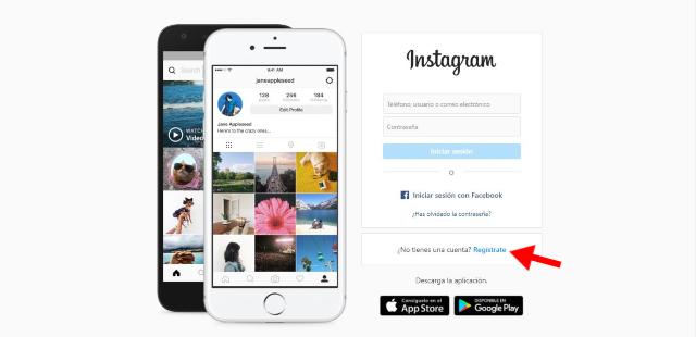 Dirigete al sitio web de Instagram