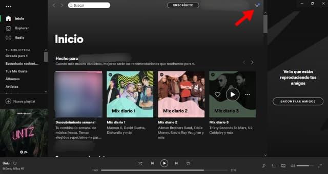 En tu ordenador dirígete a la app de Spotify