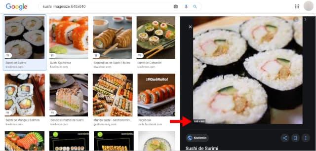 Google ofrecerá un listado de imágenes con la dimensión exacta