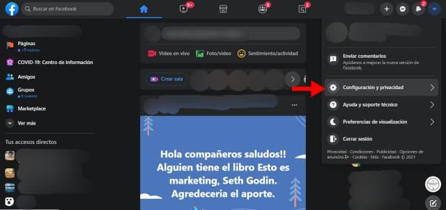 Haz click en Configuración y privacidad