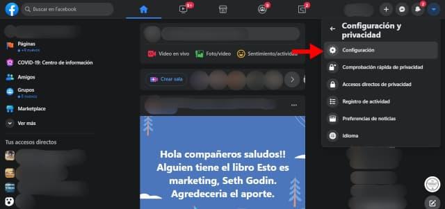 Haz click en Configuración