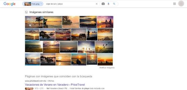 obtendrás una búsqueda de resultados tanto de sitios web como de imágenes relacionadas al contenido