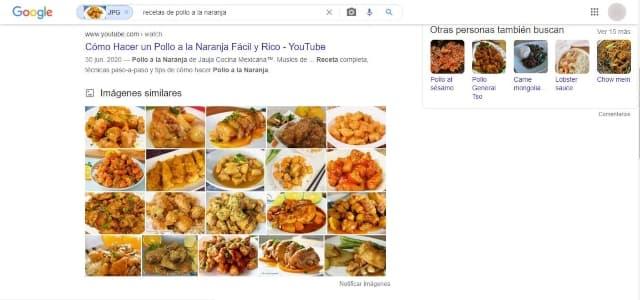 obtendrás una búsqueda de resultados tanto de sitios web como de imágenes relacionadas