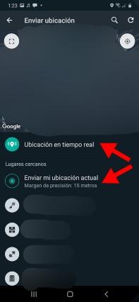 seleccionar si se desea enviar la localización estática o en tiempo real