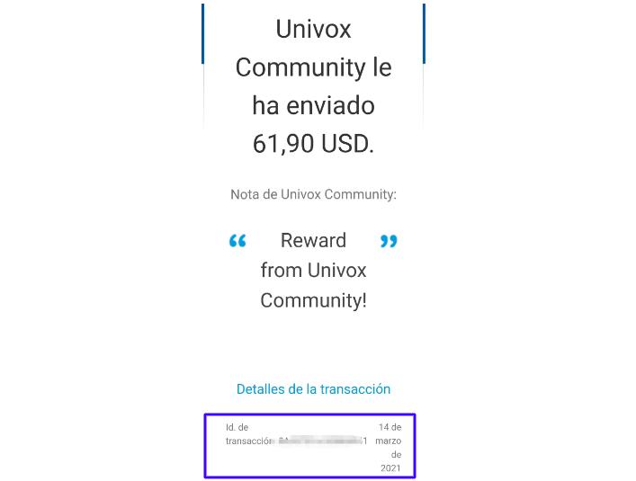 Comprobante de pago Univox
