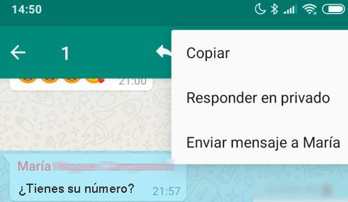 Responder mensaje en privado Whatsapp