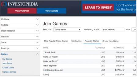 Simulador de Acciones de Investopedia (Investopedia Stock Simalator)